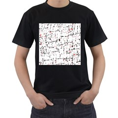 red, white and black pattern Men s T-Shirt (Black) (Two Sided)