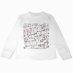 Red, White And Black Pattern Kids Long Sleeve T Shirts by Valentinaart