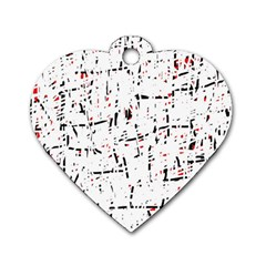 Red, White And Black Pattern Dog Tag Heart (two Sides) by Valentinaart