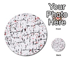 Red, White And Black Pattern Multi Purpose Cards (round)