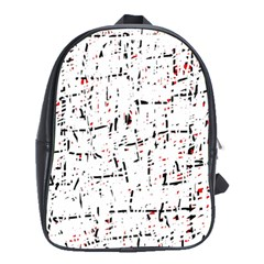 Red, White And Black Pattern School Bags (xl)  by Valentinaart