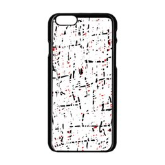 Red, White And Black Pattern Apple Iphone 6/6s Black Enamel Case by Valentinaart