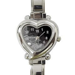 Black And Gray Pattern Heart Italian Charm Watch by Valentinaart