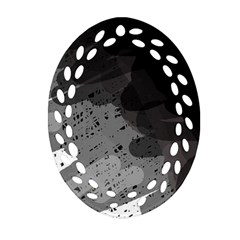 Black And Gray Pattern Ornament (oval Filigree)  by Valentinaart