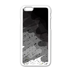 Black And Gray Pattern Apple Iphone 6/6s White Enamel Case by Valentinaart