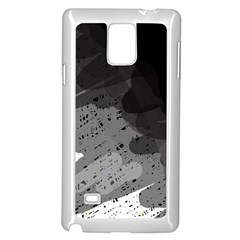 Black and gray pattern Samsung Galaxy Note 4 Case (White) by Valentinaart