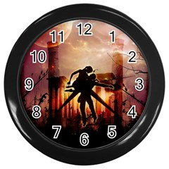 Dancing In The Night With Moon Nd Stars Wall Clocks (black) by FantasyWorld7