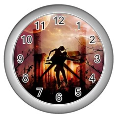 Dancing In The Night With Moon Nd Stars Wall Clocks (Silver)  by FantasyWorld7
