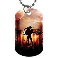 Dancing In The Night With Moon Nd Stars Dog Tag (two Sides) by FantasyWorld7