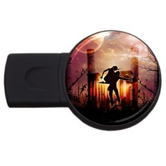 Dancing In The Night With Moon Nd Stars Usb Flash Drive Round (4 Gb)  by FantasyWorld7