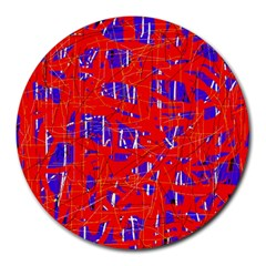 Blue And Red Pattern Round Mousepads by Valentinaart
