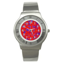 Blue And Red Pattern Stainless Steel Watch by Valentinaart