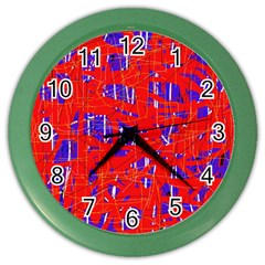Blue And Red Pattern Color Wall Clocks by Valentinaart
