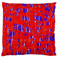 Blue And Red Pattern Large Cushion Case (one Side) by Valentinaart