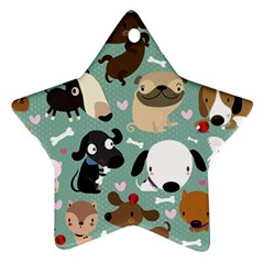 Dog Pattern Star Ornament (two Sides)