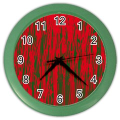 Red And Green Pattern Color Wall Clocks by Valentinaart