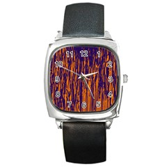 Blue And Orange Pattern Square Metal Watch by Valentinaart