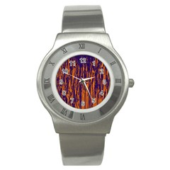 Blue And Orange Pattern Stainless Steel Watch by Valentinaart