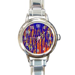 Orange, Blue And Yellow Pattern Round Italian Charm Watch by Valentinaart