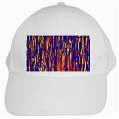 Orange, Blue And Yellow Pattern White Cap by Valentinaart