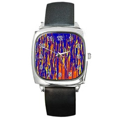 Orange, Blue And Yellow Pattern Square Metal Watch by Valentinaart