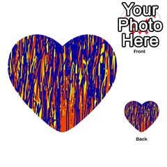 Orange, Blue And Yellow Pattern Multi Purpose Cards (heart)  by Valentinaart