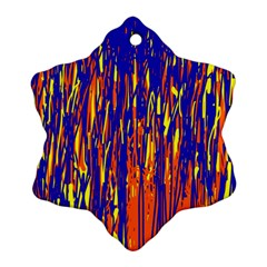 Orange, Blue And Yellow Pattern Snowflake Ornament (2 Side) by Valentinaart