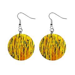 Yellow Pattern Mini Button Earrings by Valentinaart