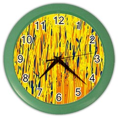 Yellow Pattern Color Wall Clocks by Valentinaart
