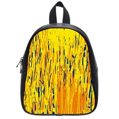 Yellow Pattern School Bags (small)  by Valentinaart