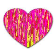 Pink And Yellow Pattern Heart Mousepads by Valentinaart
