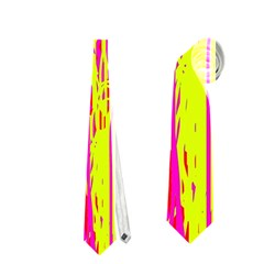 Pink And Yellow Pattern Neckties (two Side)  by Valentinaart