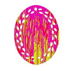Pink And Yellow Pattern Ornament (oval Filigree)  by Valentinaart