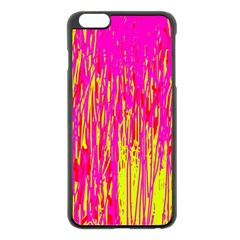 Pink And Yellow Pattern Apple Iphone 6 Plus/6s Plus Black Enamel Case by Valentinaart