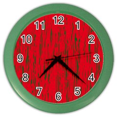 Decorative red pattern Color Wall Clocks by Valentinaart