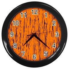 Orange Pattern Wall Clocks (black) by Valentinaart