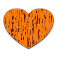 Orange Pattern Heart Mousepads by Valentinaart