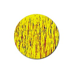 Yellow pattern Rubber Coaster (Round)  by Valentinaart