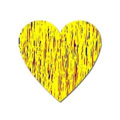 Yellow Pattern Heart Magnet by Valentinaart
