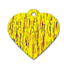 Yellow Pattern Dog Tag Heart (two Sides) by Valentinaart