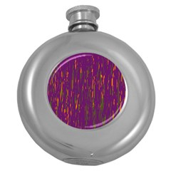 Purple Pattern Round Hip Flask (5 Oz) by Valentinaart
