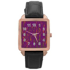 Purple Pattern Rose Gold Leather Watch  by Valentinaart