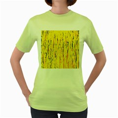 Yellow pattern Women s Green T-Shirt by Valentinaart