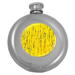 Yellow Pattern Round Hip Flask (5 Oz) by Valentinaart