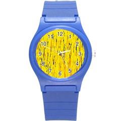 Yellow Pattern Round Plastic Sport Watch (s) by Valentinaart