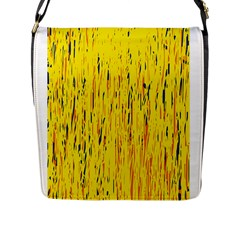 Yellow Pattern Flap Messenger Bag (l)  by Valentinaart