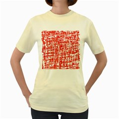 Red Decorative Pattern Women s Yellow T Shirt by Valentinaart