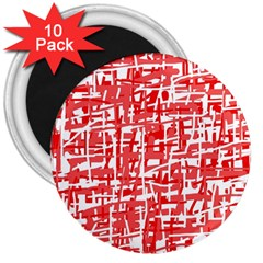 Red Decorative Pattern 3  Magnets (10 Pack)  by Valentinaart