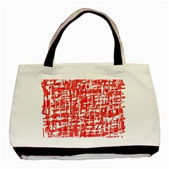 Red Decorative Pattern Basic Tote Bag by Valentinaart