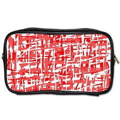 Red Decorative Pattern Toiletries Bags 2 Side by Valentinaart